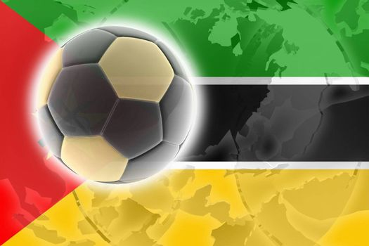 Flag of Mozambique, national country symbol illustration sports soccer football