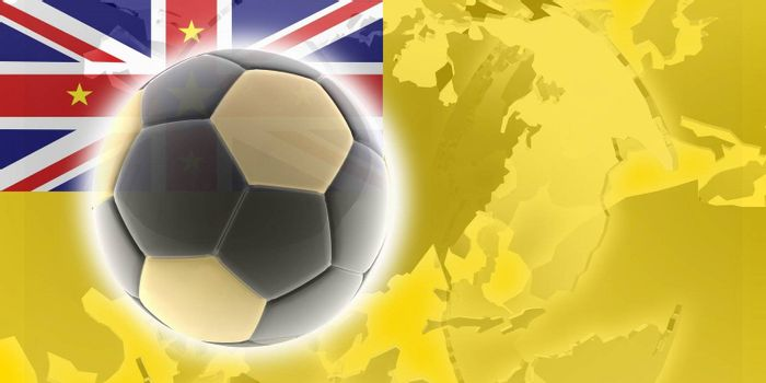 Flag of Niue, national country symbol illustration sports soccer football