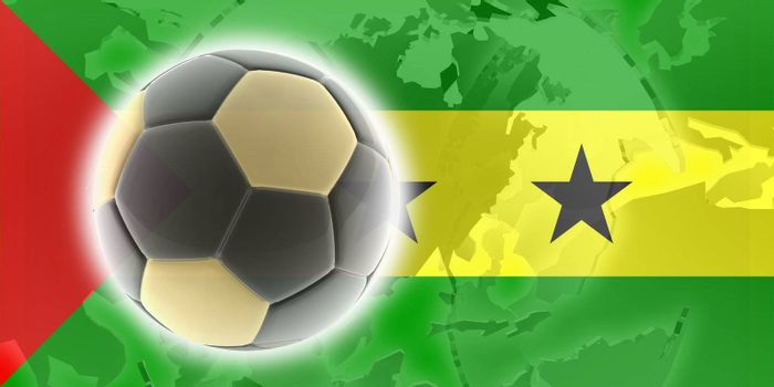 Flag of Sao Tome and Principe, national country symbol illustration sports soccer football