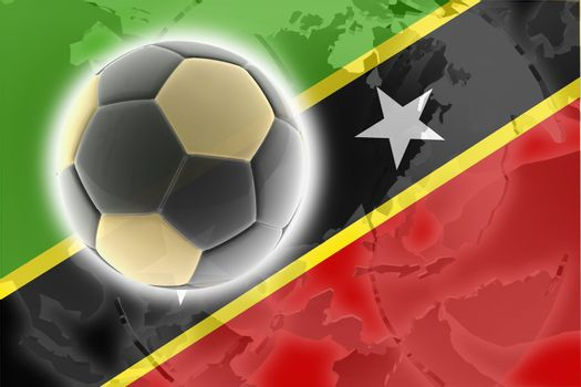 Flag of Saint Kitts and Nevis St., national country symbol illustration sports soccer football
