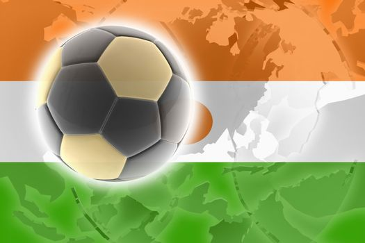 Flag of Niger, national country symbol illustration sports soccer football