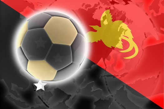 Flag of Papua New Guinea, national country symbol illustration sports soccer football
