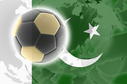 Flag of Pakistan, national country symbol illustration sports soccer football