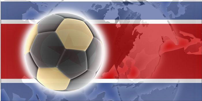 Flag of North Korea, national country symbol illustration sports soccer football