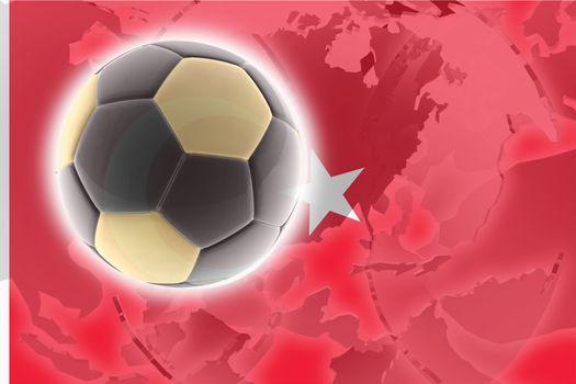 Flag of Turkey, national country symbol illustration sports soccer football