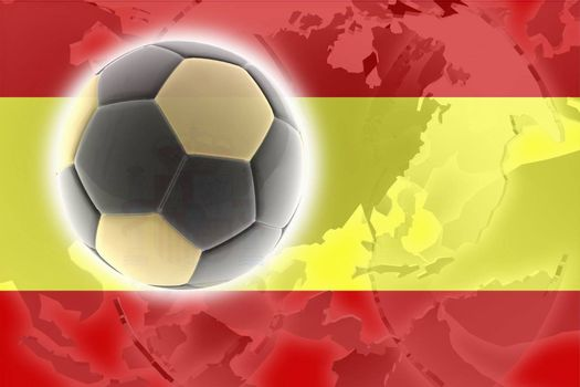 Flag of Spain, national country symbol illustration sports soccer football