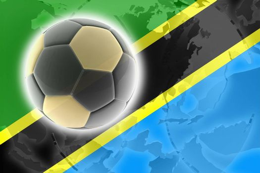 Flag of Tanzania, national country symbol illustration sports soccer football