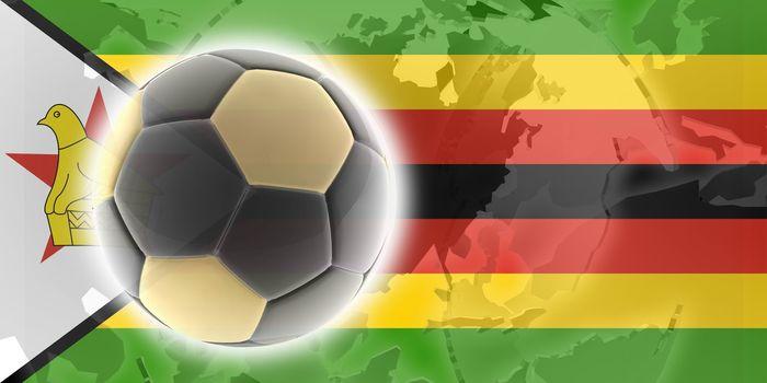 Flag of Zimbabwe, national country symbol illustration sports soccer football