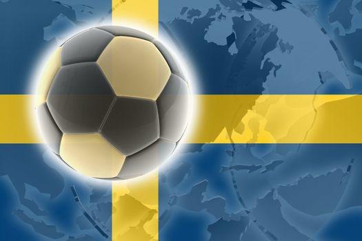 Flag of Sweden, national country symbol illustration sports soccer football