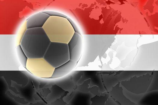 Flag of Yemen, national country symbol illustration sports soccer football