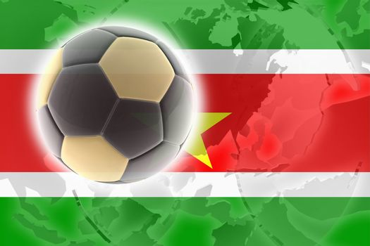 Flag of Suriname, national country symbol illustration sports soccer football