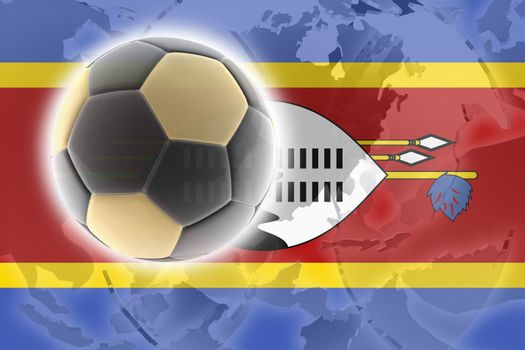 Flag of Swaziland, national country symbol illustration sports soccer football