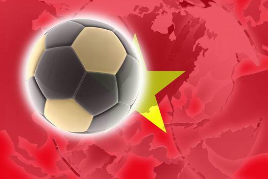 Flag of Vietnam, national country symbol illustration sports soccer football