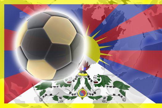 Flag of Tibet, national symbol illustration clipart sports soccer football