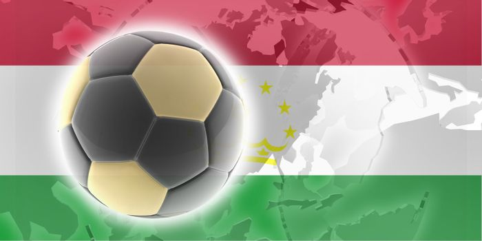 Flag of Tajikistan, national country symbol illustration sports soccer football