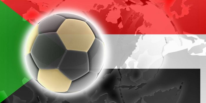 Flag of Sudan, national country symbol illustration sports soccer football