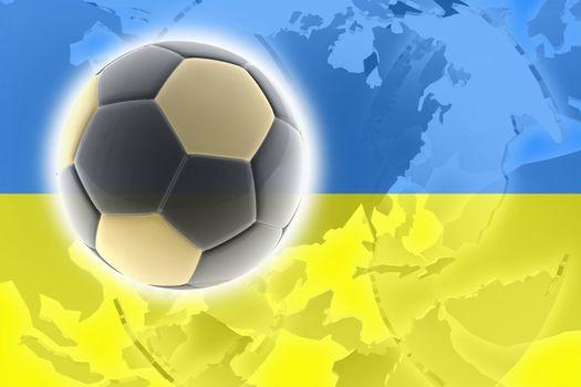 Flag of Ukraine, national country symbol illustration sports soccer football