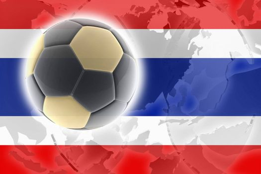 Flag of Thailand, national country symbol illustration sports soccer football