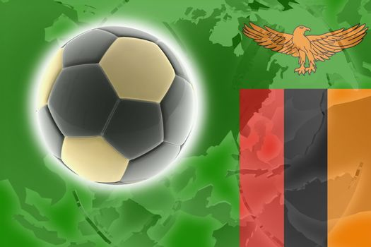 Flag of Zambia, national country symbol illustration sports soccer football