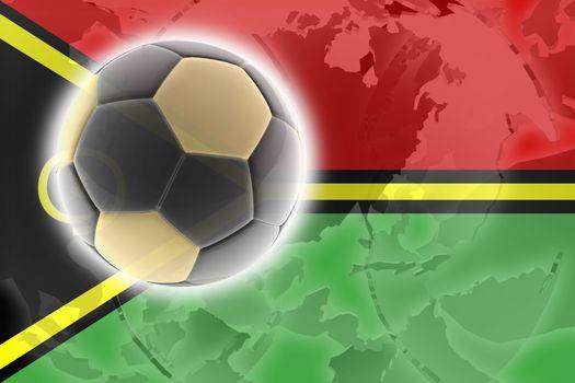 Flag of Vanuatu, national country symbol illustration sports soccer football