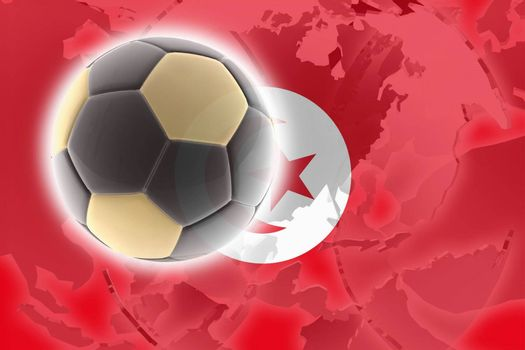 Flag of Tunisia, national country symbol illustration sports soccer football