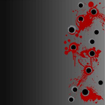 Gunshot blood splatter border background