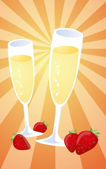 Romantic celebration with champagne and strawberries, illustration