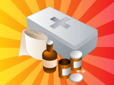 First aid kit and its contents including pills and bandages, illustration