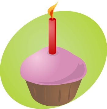 Birthday cupcake with lit candle festive illustration