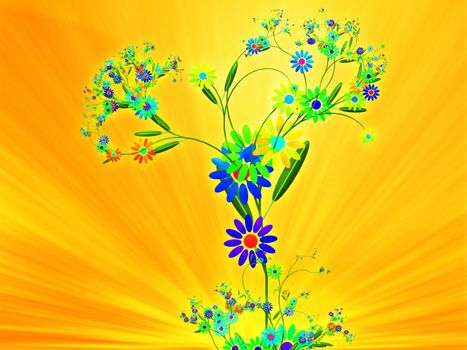 Floral nature themed design illustration with leaves and blossoms