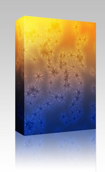Software package box Falling snow, detailed crystalline snowflakes abstract background