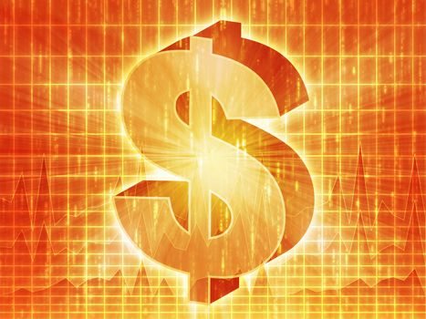 US Dollar symbol over financial chart diagram