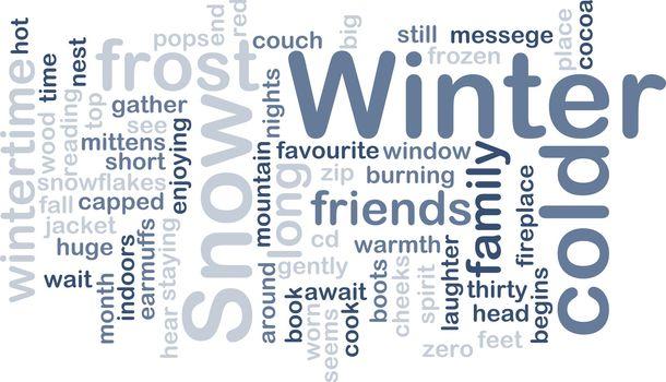 Word cloud concept illustration of winter season
