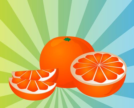 Orange fruit, whole, halved, and sliced into sections, illustration