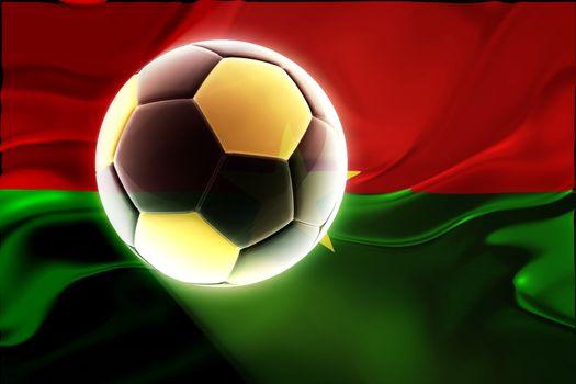 Flag of Burkina Faso, national symbol illustration clipart wavy fabric sports soccer football