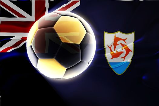Flag of Anguilla , national country symbol illustration wavy fabric sports soccer football