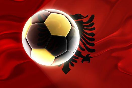 Flag of Albania, national country symbol illustration wavy fabric sports soccer football