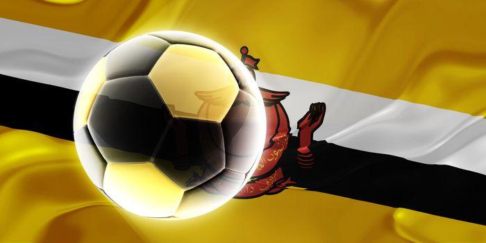 Flag of Brunei, national symbol illustration clipart wavy fabric sports soccer football
