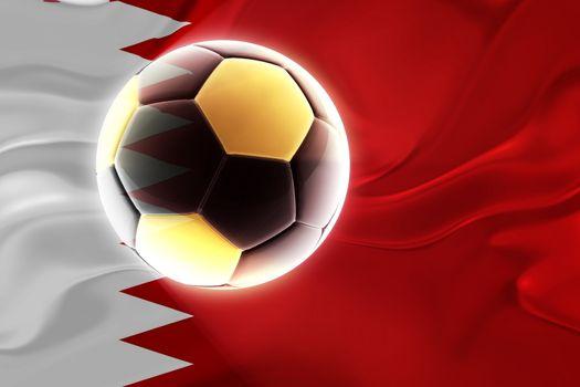 Flag of Bahrain, national country symbol illustration wavy fabric sports soccer football