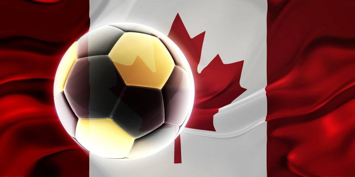Flag of Canada, national country symbol illustration wavy fabric sports soccer football