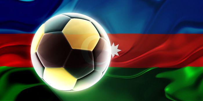 Flag of Azerbaijan, national country symbol illustration wavy fabric sports soccer football