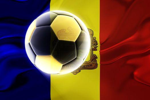 Flag of Andorra, national country symbol illustration wavy fabric sports soccer football