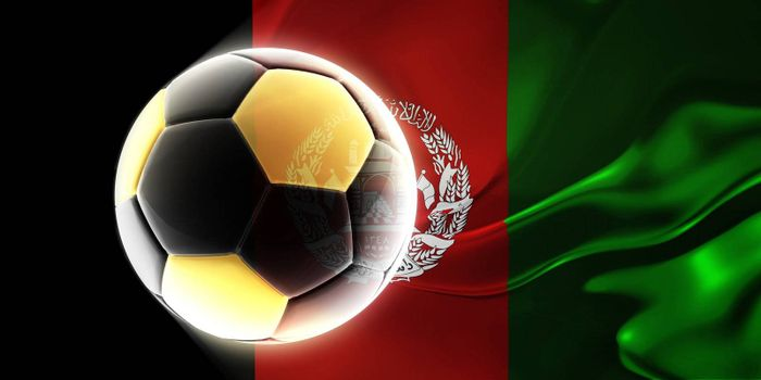 Flag of Afghanistan, national country symbol illustration wavy fabric sports soccer football