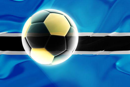 Flag of Botswana, national country symbol illustration wavy fabric sports soccer football