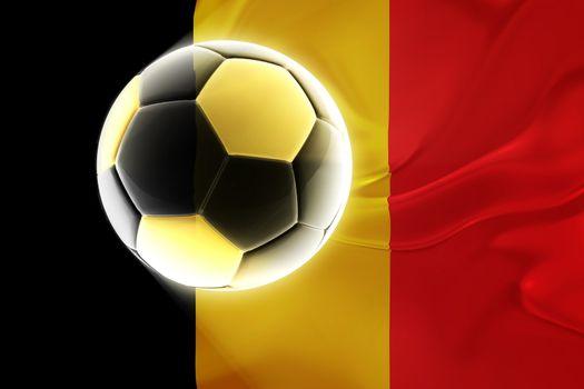 Flag of Belgium, national symbol illustration clipart wavy fabric sports soccer football