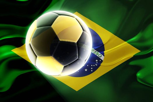 Flag of Brazil, national country symbol illustration wavy fabric sports soccer football