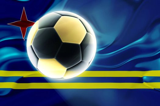 Flag of Aruba, national country symbol illustration wavy fabric sports soccer football