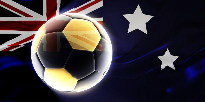 Flag of Australia, national country symbol illustration wavy fabric sports soccer football