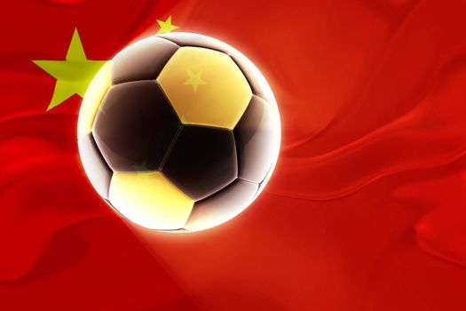 Flag of China, national symbol illustration clipart wavy fabric sports soccer football