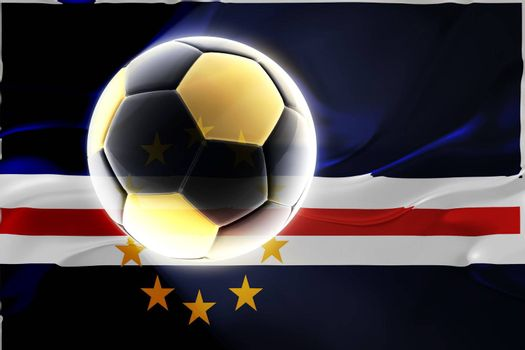 Flag of Cape Verde, national country symbol illustration wavy fabric sports soccer football